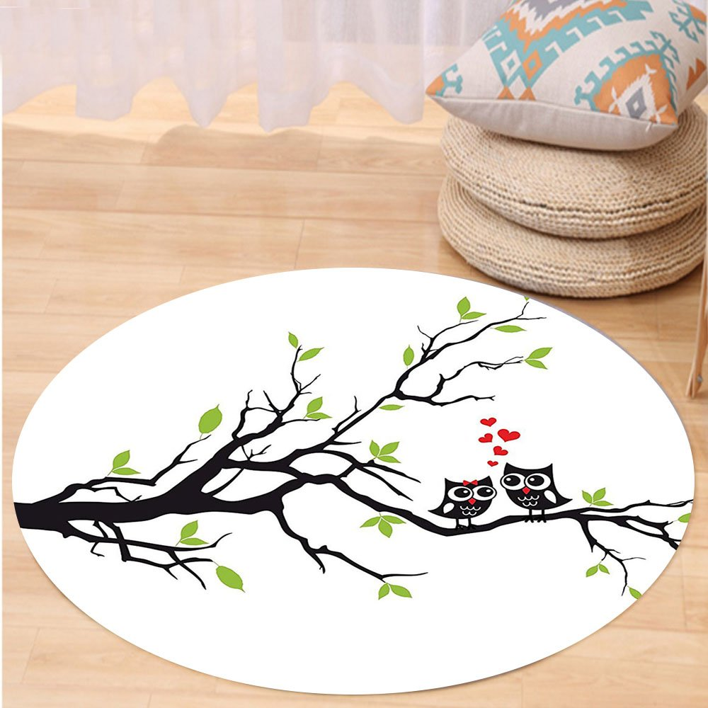 Niasjnfu Chen Custom carpetOwls Home Decor Collection Owls In Love Sitting On A Branch Leaf Leaves Hearts Romance Themed Artwork Bedroom Living Room Dorm