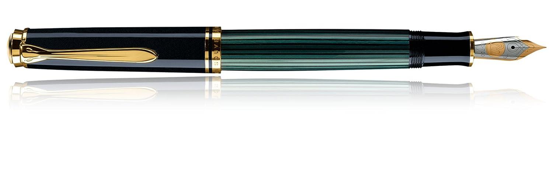Pelikan 987495 Kolbenf/üllhalter Souver/än M 1000 mit Bicolor-Goldfeder 18-K//750 Federbreite M schwarz//gr/ün 1 St/ück