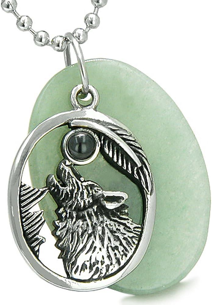 BestAmulets Amulet Howling Wolf Moon Green Quartz Simulated Black Onyx Pendant 18 Inch Necklace