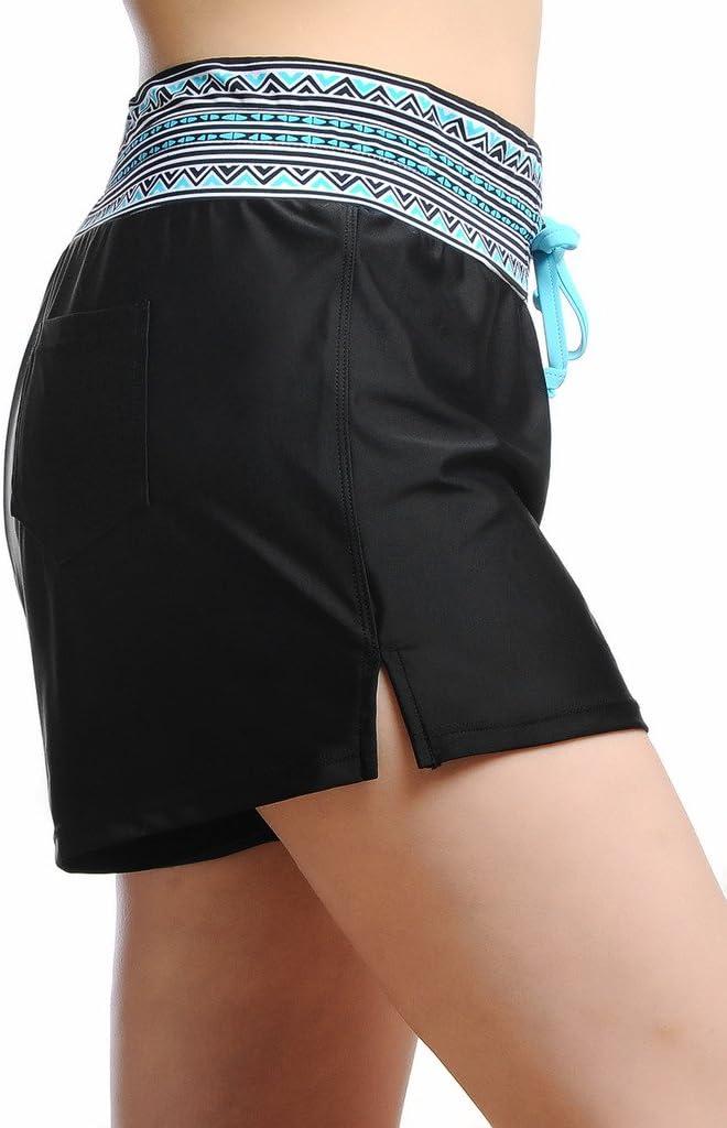 Schwarz mit Blau 03 protezione UV OUO Costume da bagno da donna a pantaloncino XXL Donna