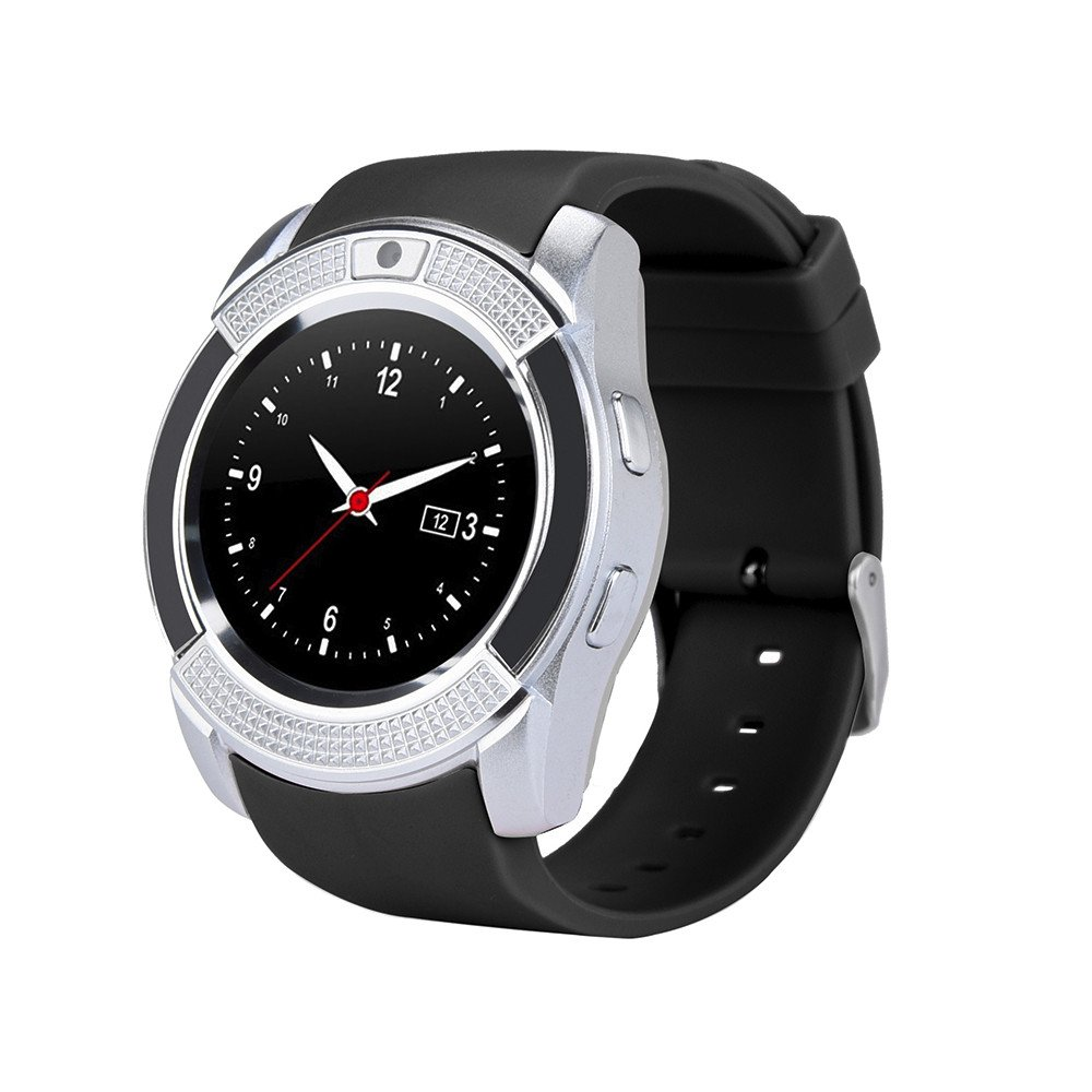 Buybuybuy V8 Smart Watch, Sports Fitness Tracker Bluetooth Smart Wristband with SIM Card and TF Card Slot Camera Message Notification Sleep Monitor for iPhone Samsung and Android Smartphones (Silver)