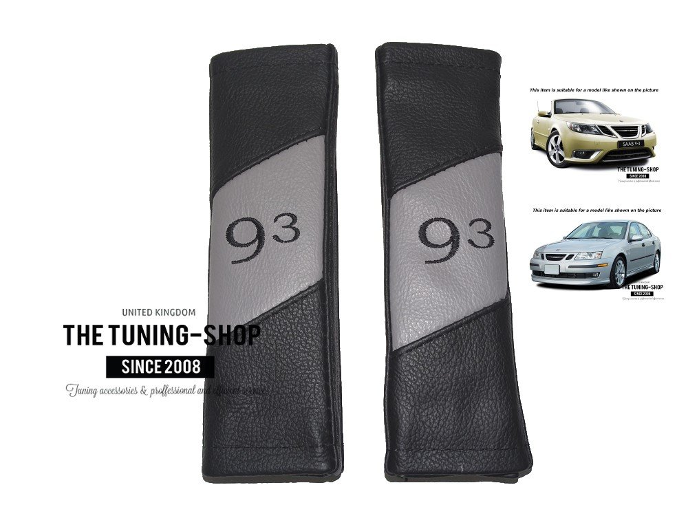 2 x Seat Belt Covers Pads Black /& Grey Leather 93 Style Embroidery