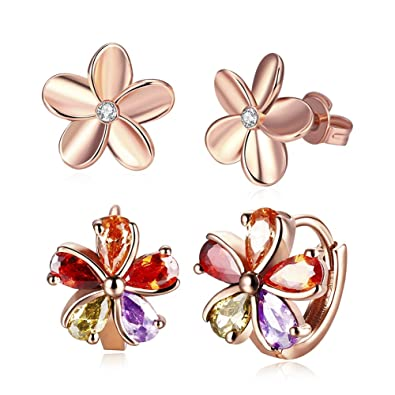 04ad9e2a7 18K Gold Plated Stud Earrings,CZ Cubic Zircon Rose Flower Hypoallergenic  Studs For Women Teen
