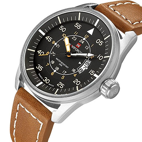Expedition Field Military Watch (Men's Quartz Analog Wrist Watches with Brown Leather Strap Silver Case Auto Date Luminous Hands- 30M Waterproof Watch)