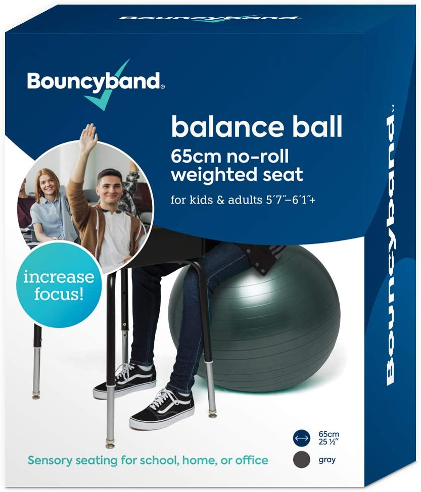 Balance Ball - No-Roll Weighted Seat is a Flexible Chair for School, Office or Home (Large, Dark Gray)