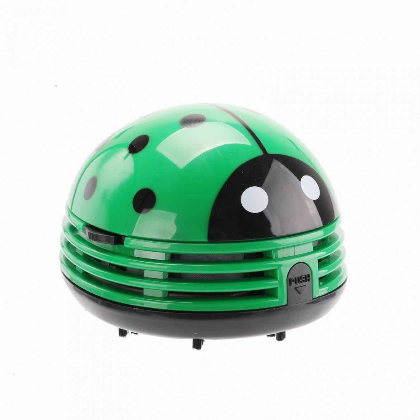 VOYEE Cute Portable Beetle Ladybug Cartoon Mini Desktop Vacuum Desk Dust Cleaner Green by VOYEE (Image #4)