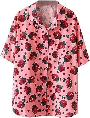 LIULINUIJ Women'S T-Shirt Women Hawaiian Shirts Strawberry Shirt ...