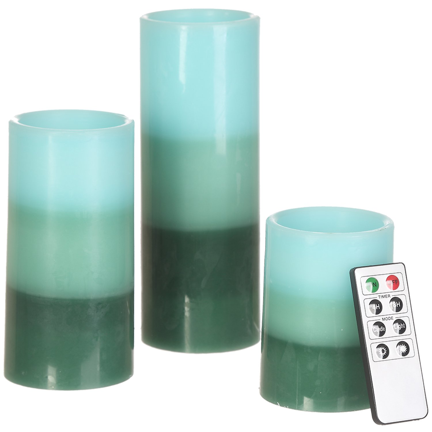 CEDAR HOME Flameless Candles LED Battery Powered Pillar Tealight Real Scented Wax Remote, Pack of 3, Teal