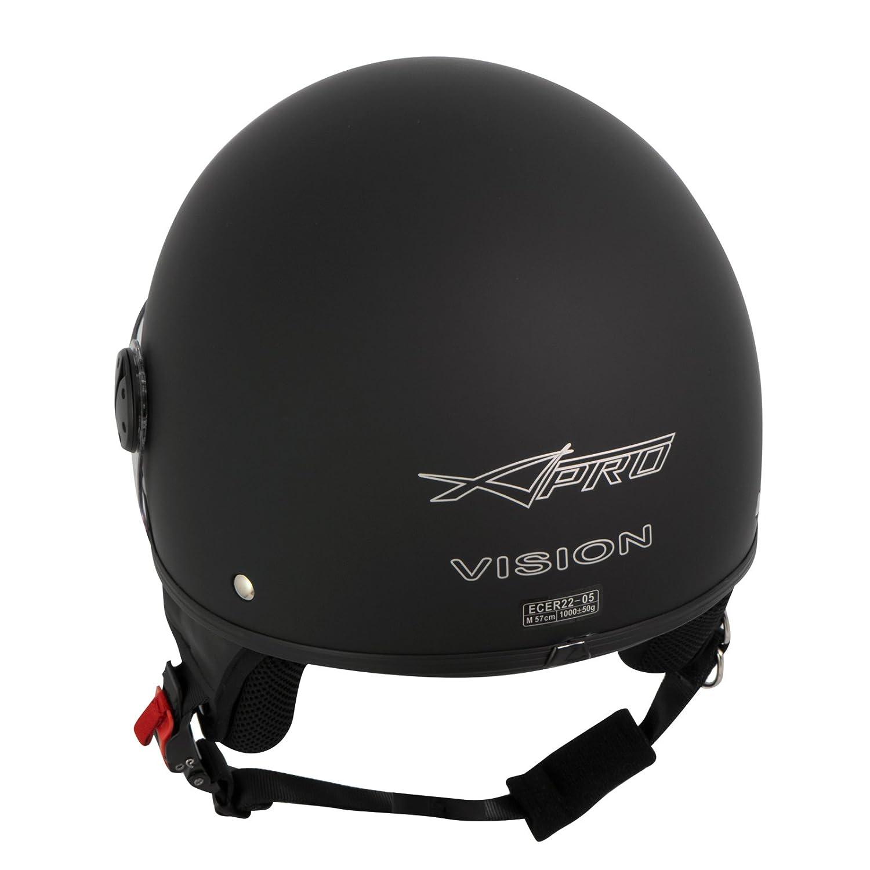 Casco Jet Demi Scooter Moto Omologato ECE 22 Visiera Antigraffio Nero Opaco 2XL