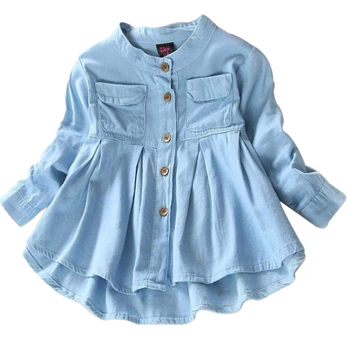 Toddler Kid Baby Girls Top Ruffled Hem Denim Shirt Long Sleeve Ruffle Blouses Autumn Casual Clothes Set
