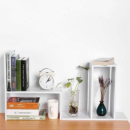 Expandable Wood Desktop Bookshelf Organizer Office Storage Rack Display Shelf