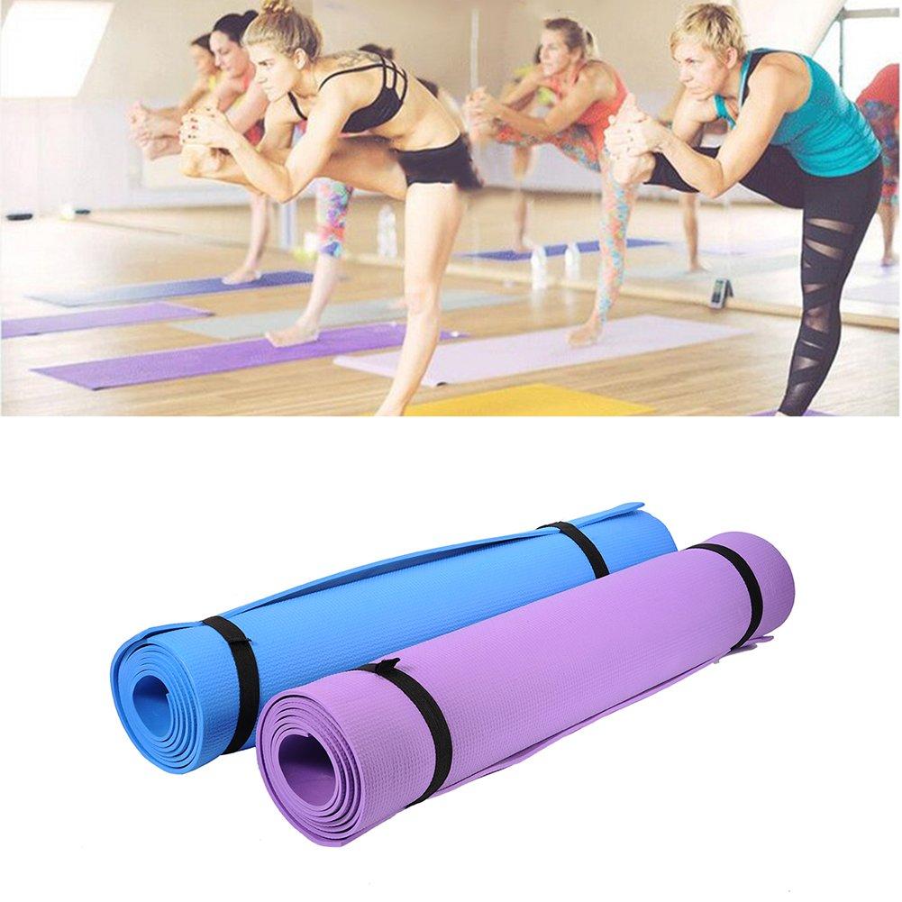 Esterilla antideslizante y acolchada para hacer ejercicio, yoga, pilates o acampada, azul: Amazon.es: Deportes y aire libre