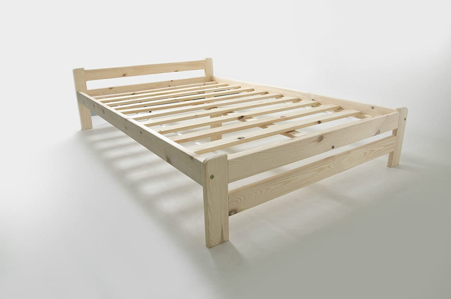 Wooden bed frames double - Double Bed 4ft Small Double Solid Pine Wood Scandinavian Style Amazon Co Uk Kitchen Home