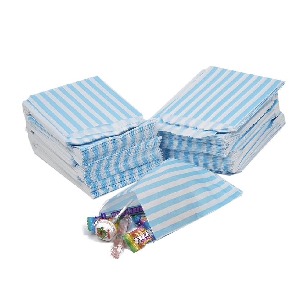 100 x AQUA Light Blue Candy Stripe Paper Bags - 7