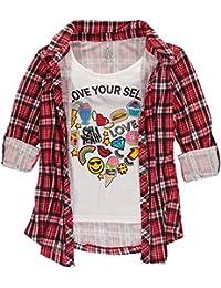 9e68420f7211 Pattern Cotton Shirt Children Blouse Vest 1-8y · 9 · Girls  Button Down  Layered Top
