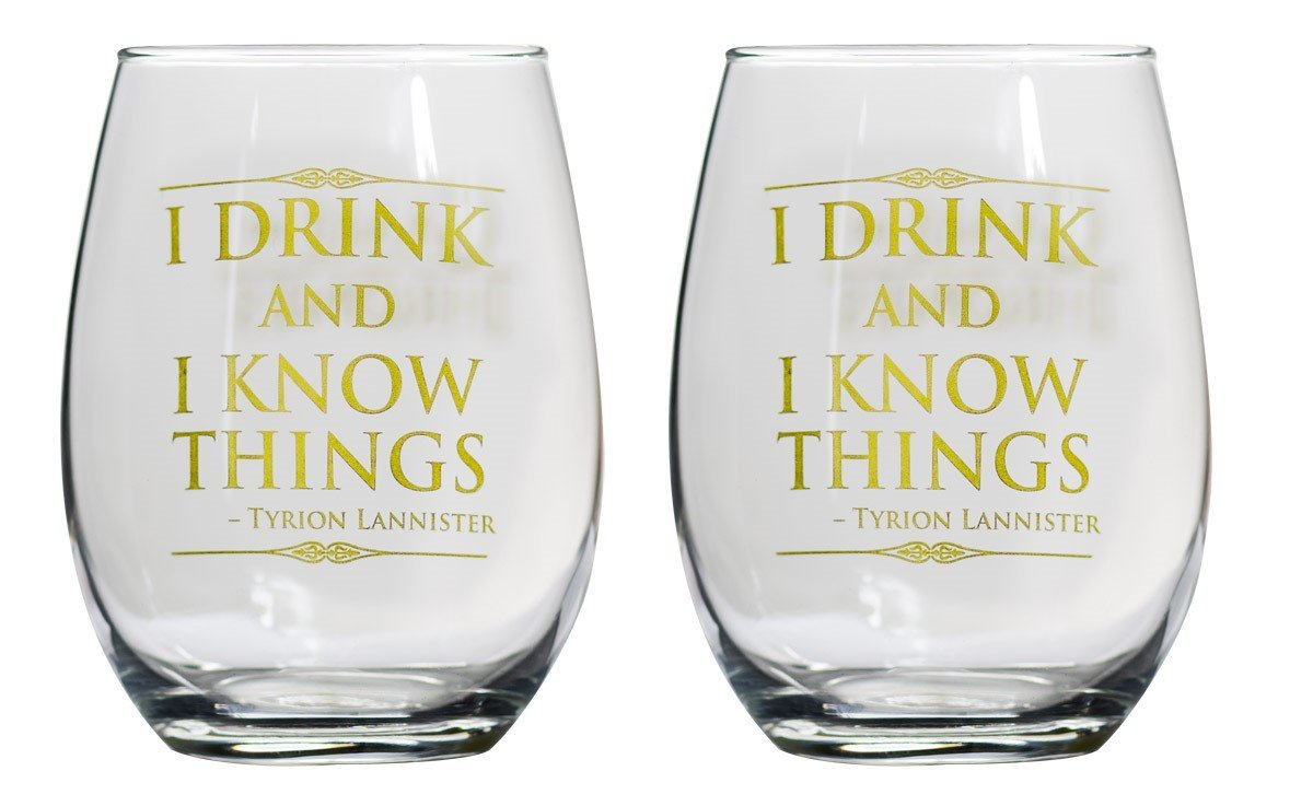 Game of Thrones Collectible Wine Glass Set (I Drink & I Know Things)