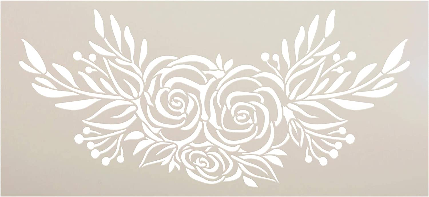 Rose Bouquet Stencil by StudioR12 | DIY Rustic Flower Lover Home Decor | Craft & Paint Wood Sign | Reusable Mylar Template | Happy Floral Plant Gift Garden Porch Select Size (12 inches x 5.5 inches)