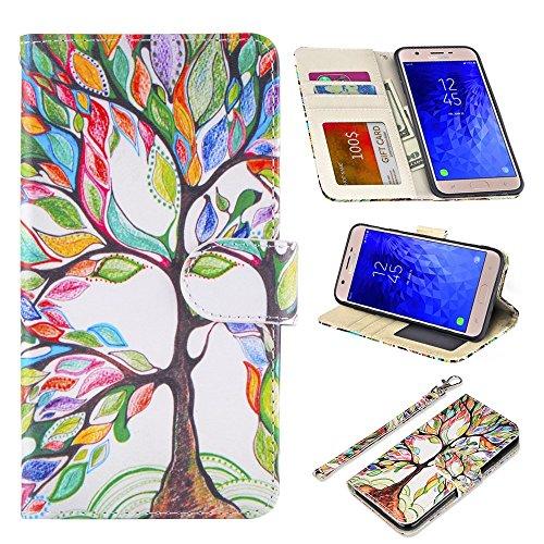 UrSpeedtekLive Samsung Galaxy J7 2018 Case, Galaxy J7 Refine/J7 Aero/J7 Aura/J7 Top/J7 Eon/J7 Star Premium PU Leather Wristlet Flip Wallet Case Cover w/Card Slots & Stand,Love Tree