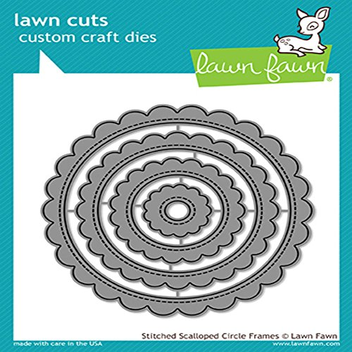 Lawn Fawn Lawn Cuts Custom Craft Die - LF1718 Stitched Scalloped Circle Frames - Scalloped Circles Dies