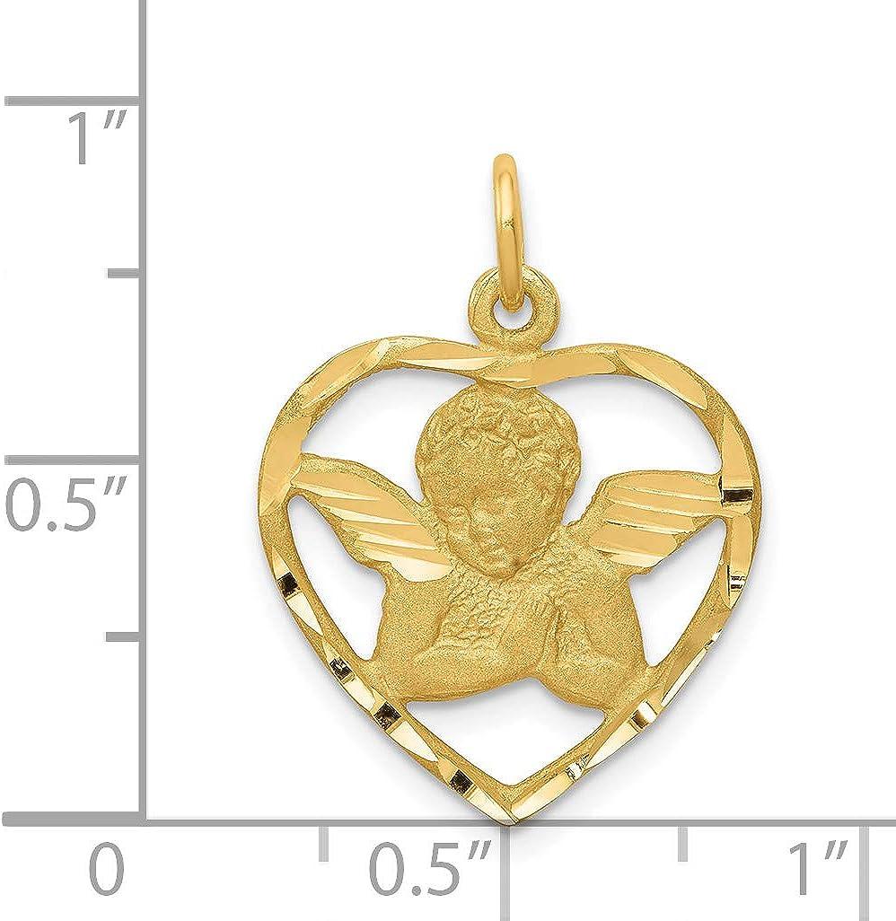 14k Yellow Gold Satin Cherub Angel In Open Heart Charm 24x18mm