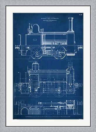 Amazon locomotive blueprint ii by vision studio framed art locomotive blueprint ii by vision studio framed art print wall picture flat silver frame malvernweather Gallery