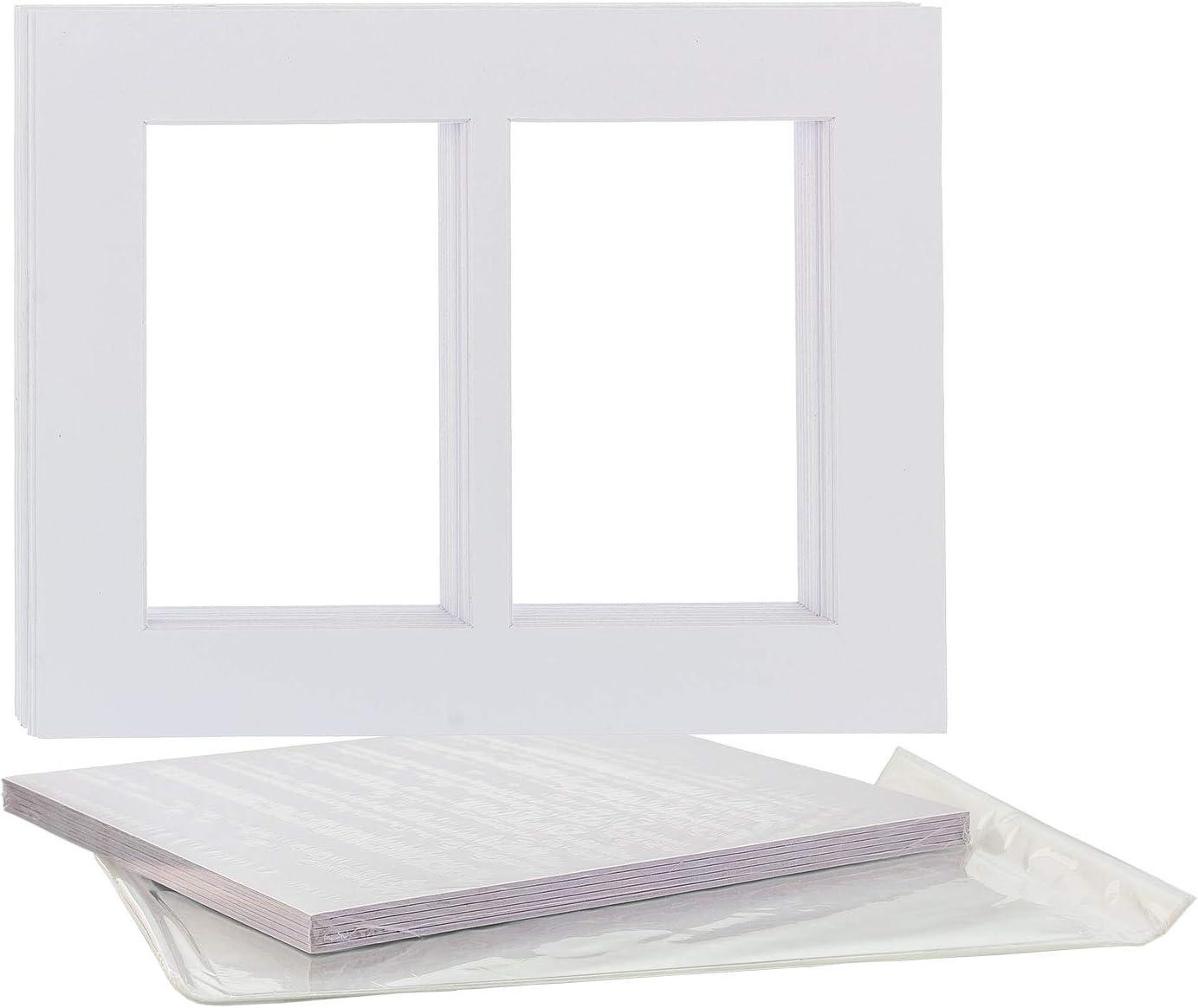 Backboard /& Clear Bags Mats U.S Art Supply 8X10 Black Multi-Window Photo Mat Board Set 10 Sets