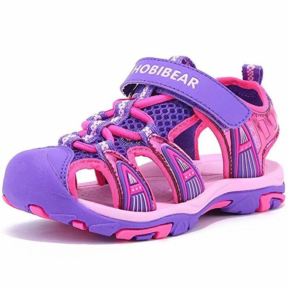 Sketo Boys Girls Kids Closed-Toe Summer Outdoor Beach Sports Sandals(Toddler/Little Kid/Big Kid) 4.5M(37) Purple(b)