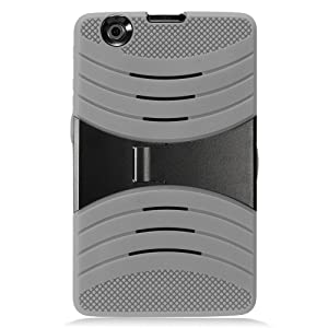 LG G Pad X 8.0 Case, IECUMIE WAVE Skin Protective Cover Case w/ Built-in Kick Stand for LG G Pad X, 8.0 - Gray (Package Include an IECUMIE Stylus Pen)