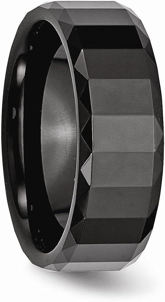 Bridal Wedding Bands Fancy Bands Ceramic Black Faceted 8mm Polished Beveled Edge Band Size 9