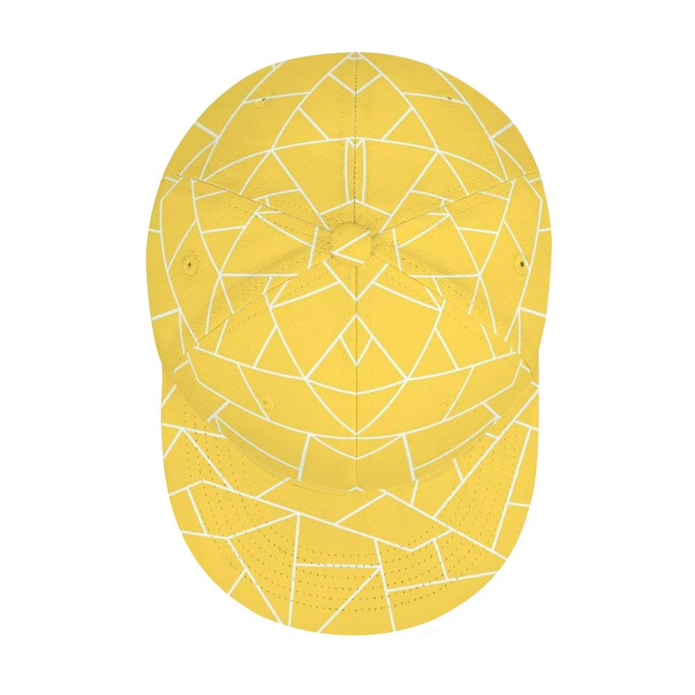 Dongi Mustard Yellow White Mosaic Lines Unisex Full-Print Flat Rubber Ball Cap can Adjust Hip-hop Style
