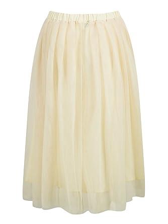 3fe798c91bc Women Midi Tulle Skirt Multi Layered Elastic High Waist Knee Length Skirts  Beige S