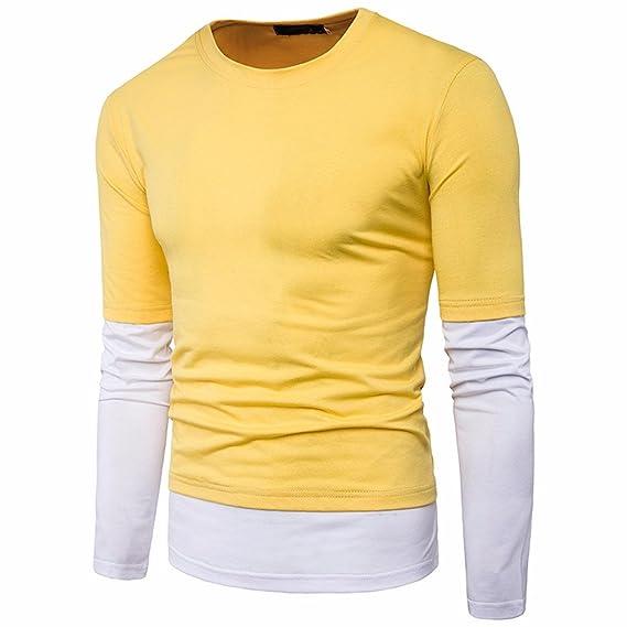 YanHoo Camisa de Manga Larga Casual para Hombre Camisa de Corte Slim o Blusa de Cuello