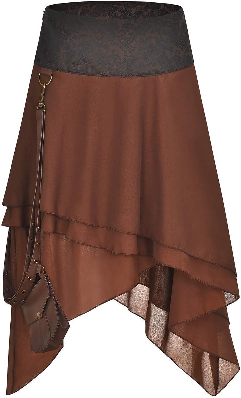 FLYFISH - Falda gótica para mujer, talla grande, estilo vintage, estilo steampunk