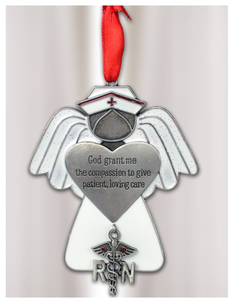 Banberry Designs Nurse Angel Ornament - RN Caduceus Charm Hanging From the Metal Heart Which Says God Grant Me the Compassion to Give Patient Loving Care - 3.25'' - Gift Boxed