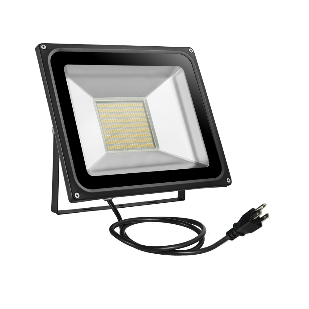 Missbee 100w LED Flood Light 11000ml Outdoor Security Light With US 3-Plug, 2.95feet Cord, 2800-3000lm,Warm White, IP65 Waterproof, Instant On, Super Bright to Garage,Advertising[Added plug]