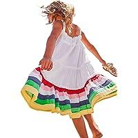 HILEELANG Little Girls Cotton Dress Sleeveless Casual Summer Sundress Flower Printed Jumper Skirt