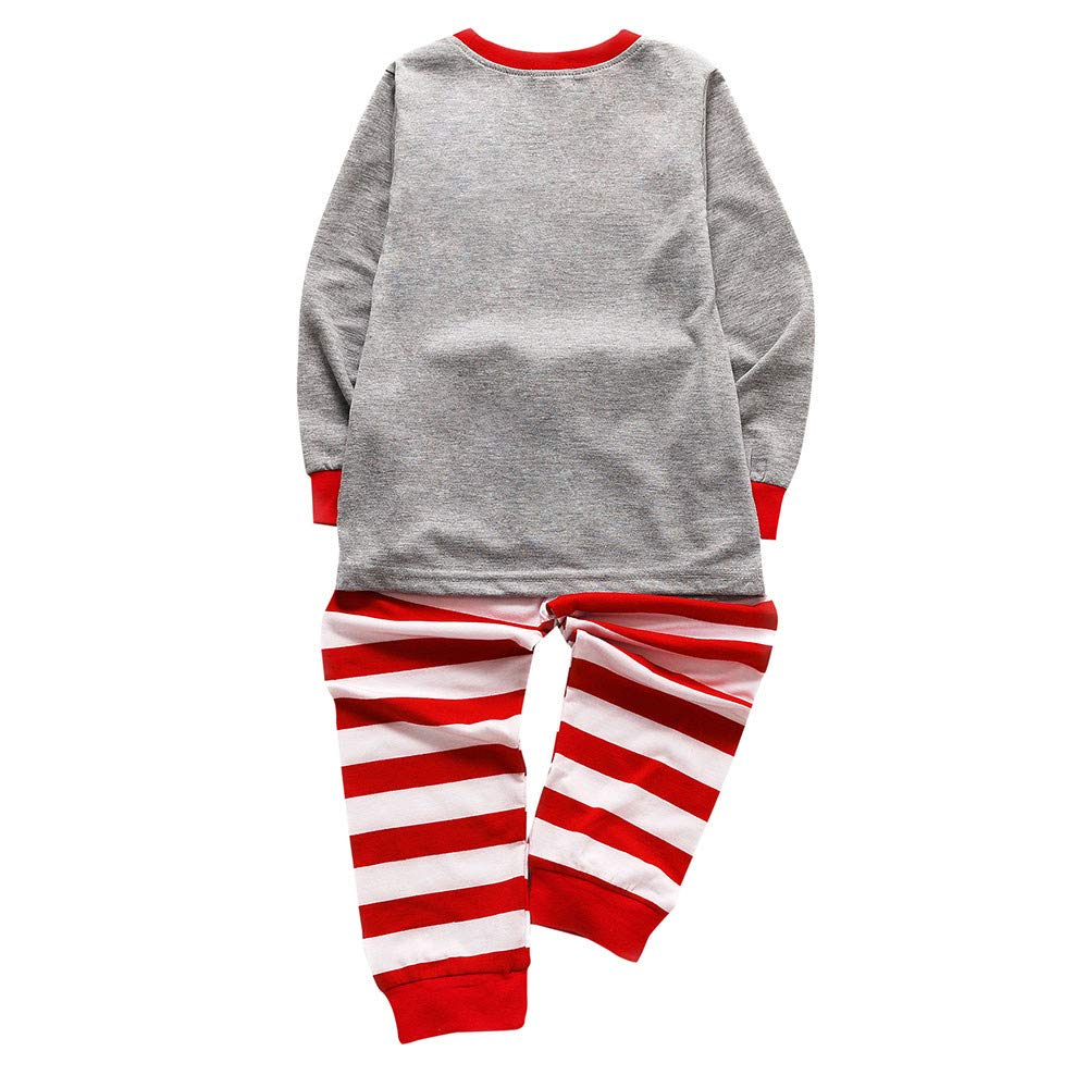 Onefa Toddler Kids Baby Boys Girls Set Pajamas Cartoon Printed Tops Pants Outfits