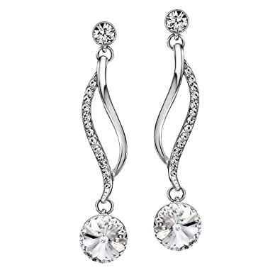 cca8cadc33 Neoglory Jewelry White Crystal Fashion Drop Dangle Earrings Lady for Women  Embellished with Crystals from Swarovski: Amazon.ca: Jewelry