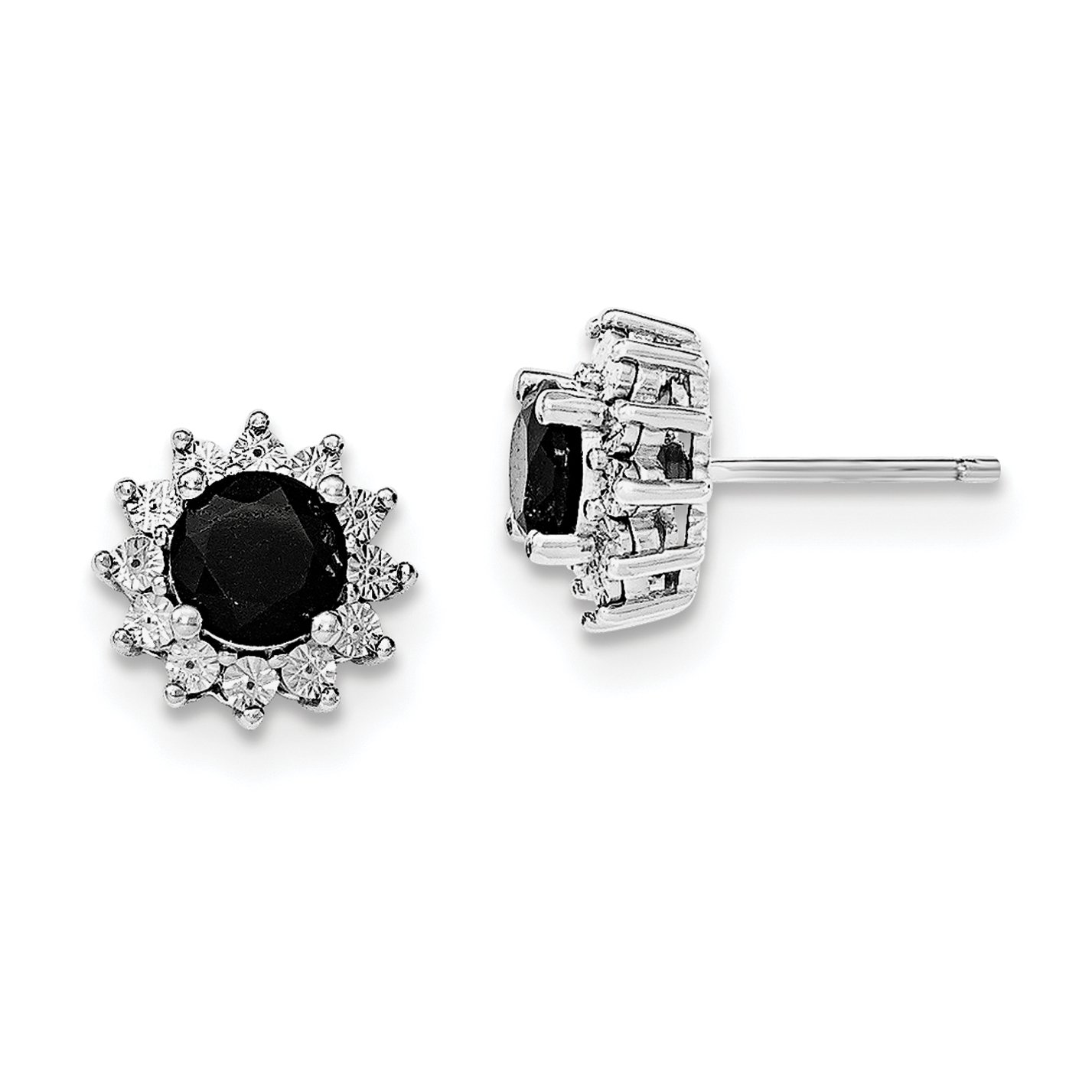 ICE CARATS 925 Sterling Silver Black Sapphire Post Stud Ball Button Earrings Fine Jewelry Gift Set For Women Heart