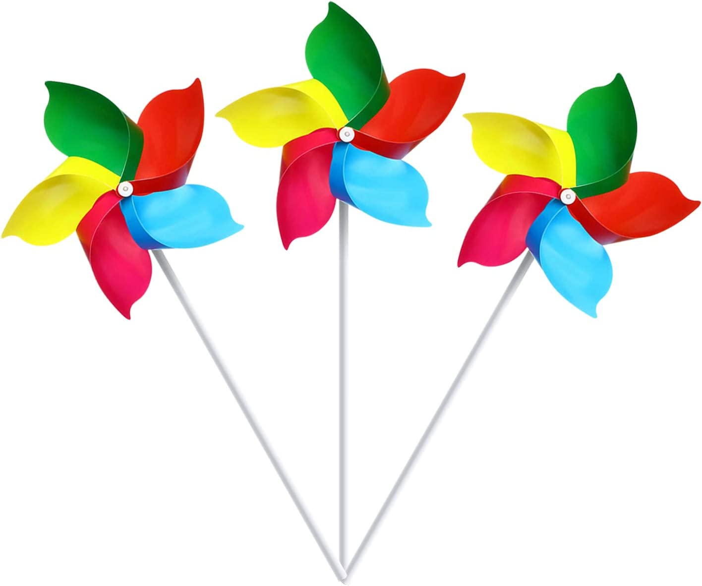 Woohome 5 Colors Mixed Pinwheels Lawn 5 Leaves Outdoor Windmill Outdoor Decorational Pinwheels Windmill for Yard and Garden