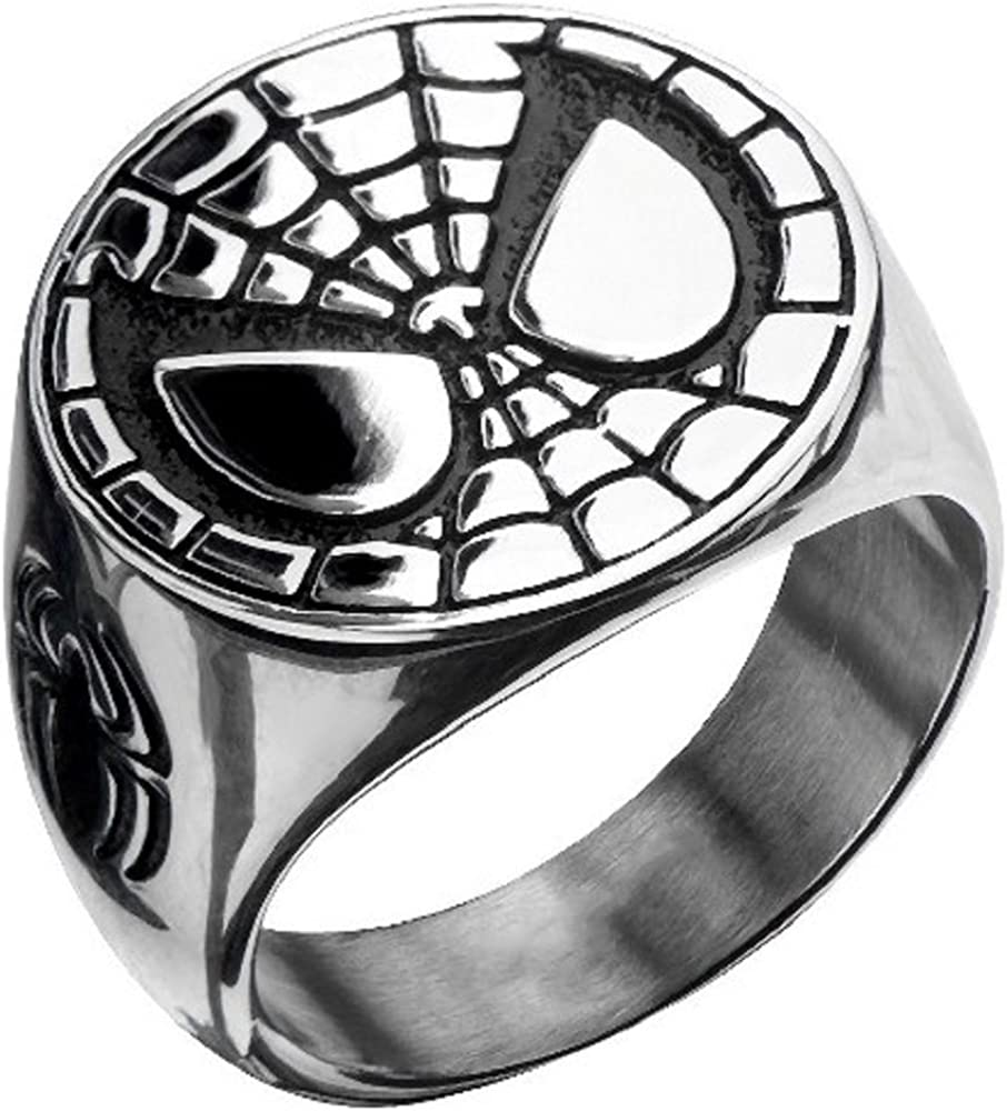 Body Vibe Stainless Steel Spiderman Face Ring 10