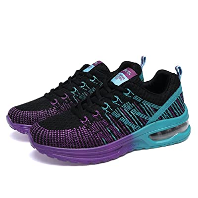 241 Fashion Women's Outdoor Athletic Running Sneakers Air Cushion Gym Casual Jogging Walking Shoes US6.5-9 (6.5, Black purple)