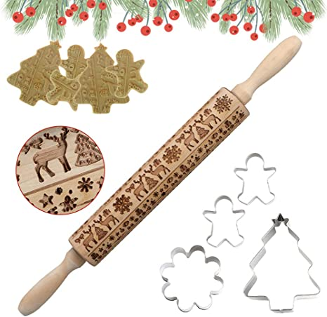 Pies /& Pastry Clay Crafts Crusts Christmas Wooden Rolling Pins Christmas Elk Print Wooden Rolling Pin Dough Engraved Roller Biscuit Baking for Baking with Kids Dough /& Fondant Cookies