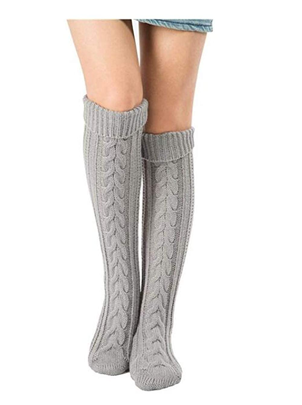 Xugq66 Womens Winter Leg Warmers Knitted Crochet Knee High Boot Socks