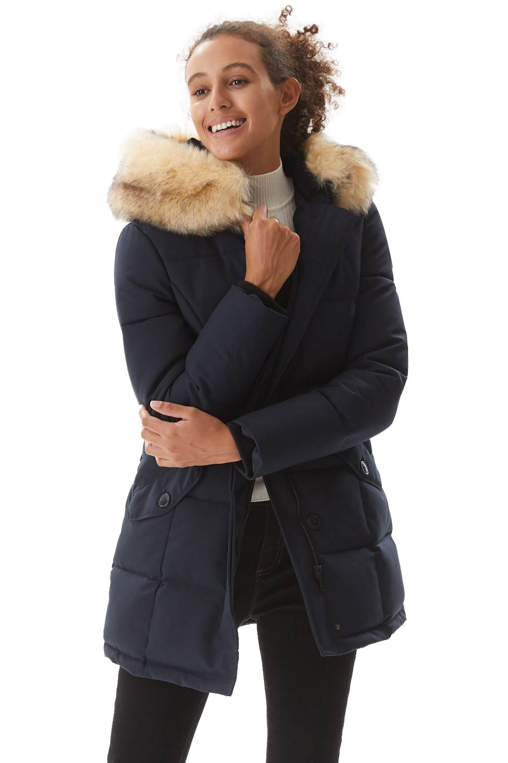 Molemsx Winter Coat for Women, Womens Warm Puffer Coat Parka Jacket with Fur Trimmed Hood Navy X-Large by Molemsx