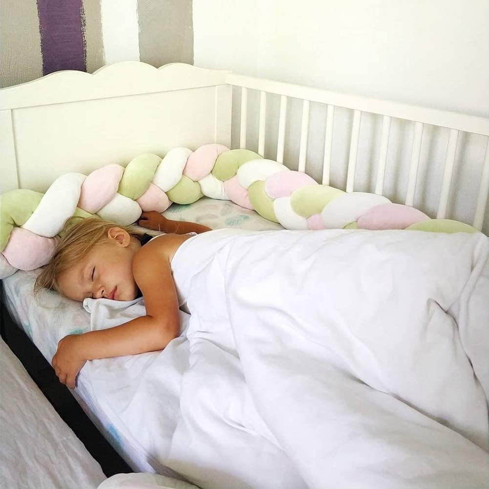 MOMAID Baby Braided Crib Bumper Knotted Plush Soft Nursery Toddler Crib Bedding Sets Decor Handmade Cradle Newborn Pillow Snuggle Sleep Bed Pads