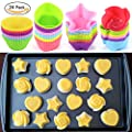 Wisdompark 24 Pack Silicone Cupcake Liners Nonstick/Heat Resistant/Reusable Silicone Muffin Baking Cups Silicone Jelly Molds