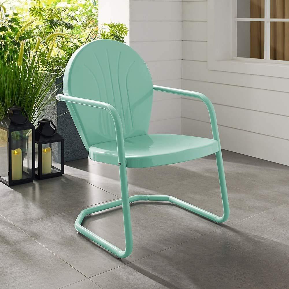 Crosley Griffith Metal Patio Chair in Aqua
