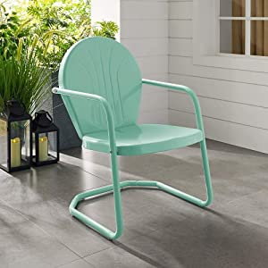 Crosley Griffith Metal Patio Chair in Aqua