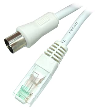 Omenex 491261 - Cable de antena RJ45 (conector coaxial macho a conector macho, 2